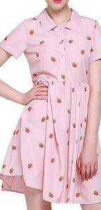 ROMWE Dresses - 🍓 Strawberry Print Pink Half Placket Smock Dress